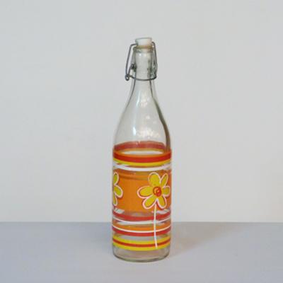 botella-flores-rayas-naranjas